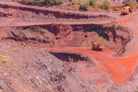 Huge iron ore quarry with working dump trucks and excavators in Kryvyi Rih, Ukraine