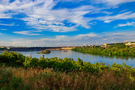 Dnieper Hydroelectric Station on the Dnieper river in Zaporizhia, Ukraine