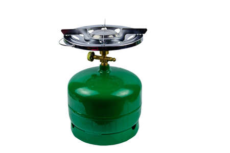 Green propane gas cylinder with burner isolated on white background