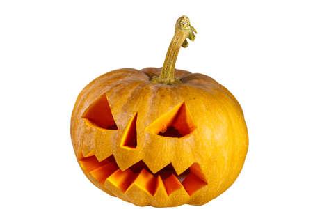 Spooky Halloween pumpkin jack-o-lantern isolated on a white background