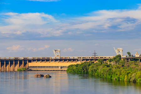 Dnieper Hydroelectric Station on the Dnieper river in Zaporizhia, Ukraine Standard-Bild