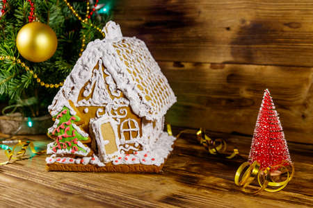 Christmas Gingerbread house on a wooden table