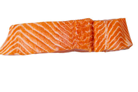 Raw salmon fillet isolated on white background 写真素材