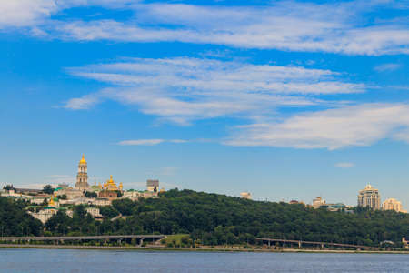 View of Kiev Pechersk Lavra (Kiev Monastery of the Caves) and the Dnieper river in Ukraine