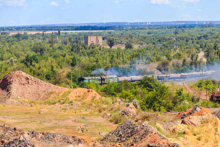Freight train in the iron ore quarry