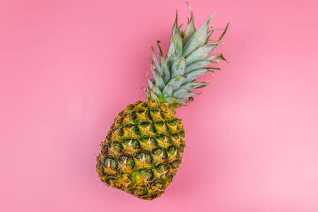 One whole pineapple on pink background. Top view