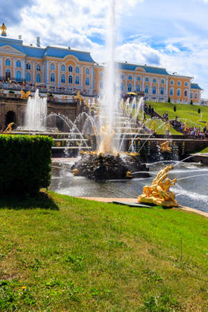 St. Petersburg, Russia - June 25, 2019: Grand Cascade Fountain and Samson Fountain at Peterhof Royal Palace in Saint Petersburg, Russia