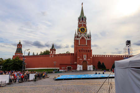 Moscow, Russia - August 15, 2019: Spasskaya tower of Kremlin on Red Square in Moscow, Russia 報道画像