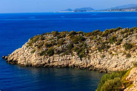 Rocky shore of the Mediterranean sea in Turkey