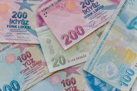 Background of the different turkish lira banknotes 写真素材