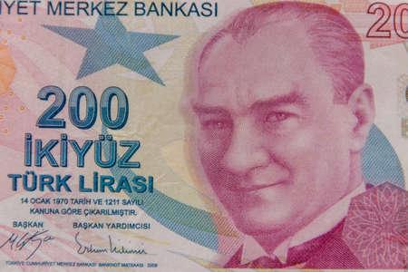 Macro shot of the two hundred turkish lira banknote 写真素材