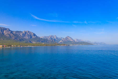 View of the Mediterranean sea coast and the Taurus mountains in Kemer, Antalya province in Turkey Banco de Imagens