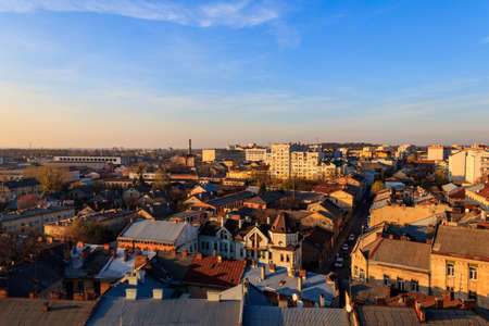 View of Lviv city from bell tower of Church of Sts. Olha and Elizabeth. Lvov cityscape, Ukraine