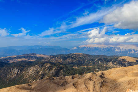 View of the Taurus mountains from a top of Tahtali mountain near Kemer, Antalya Province in Turkey
