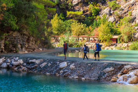 Backpackers on hike in Goynuk Canyon at Lycian Way, Turkey Editorial