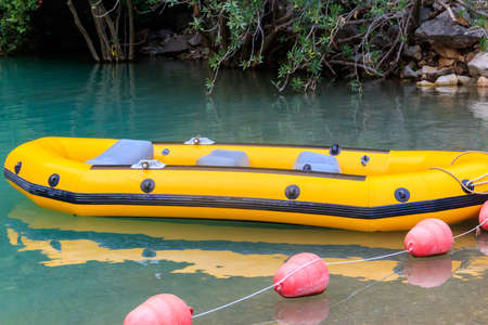 Rubber boat to transport tourists in Goynuk canyon in Turkey Banco de Imagens