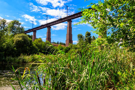 Railway Bridge viaduct across the Inhulets river in Kryvyi Rih, Ukraine