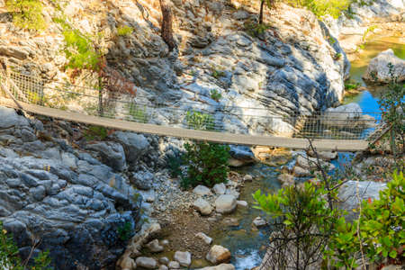 Suspension wooden bridge in Goynuk canyon in Antalya province, Turkey