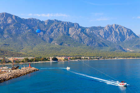 Parasailing on the Mediterranean sea in Kemer, Antalya province in Turkey