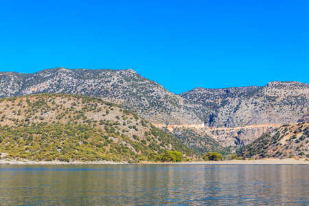 View of the Taurus mountains and the Mediterranean sea near Demre, Antalya province in Turkey