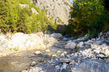 View of a mountain river in Kesme Bogaz canyon, Antalya province in Turkey