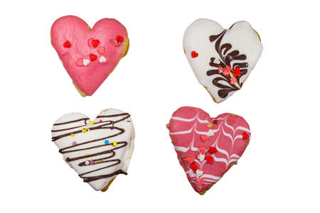 Four heart shaped cookies isolated on white background 写真素材