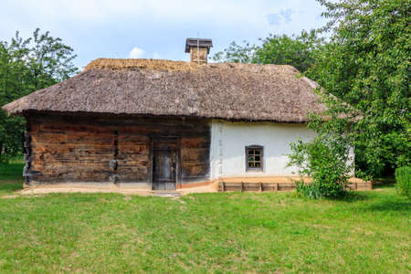 Ancient traditional ukrainian rural house in Pyrohiv (Pirogovo) village near Kiev, Ukraine