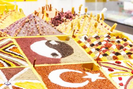 Variety of turkish spices on market stall at oriental bazaar in Turkey