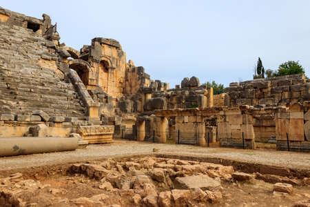 Ruins of ancient Greek-Roman theater of Myra in Demre, Antalya province in Turkey