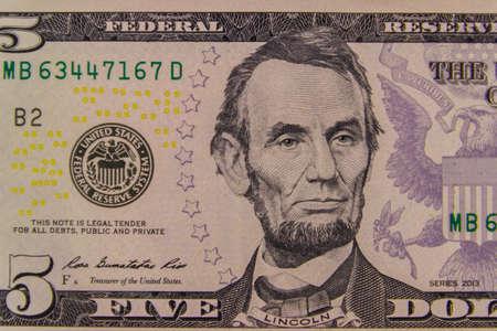 Macro shot of the five dollars banknote