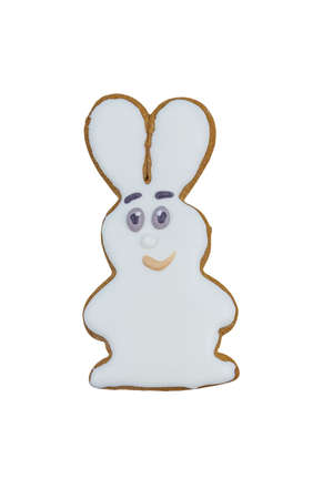 Gingerbread cookie in shape of bunny isolated on a white background 版權商用圖片