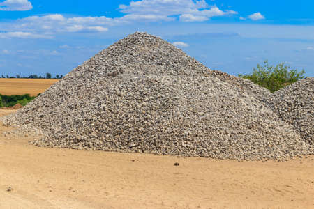 Piles of gravel for road construction