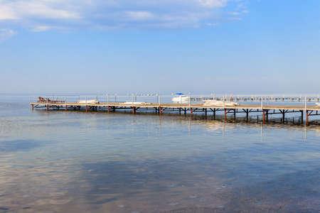 Wooden pier in the Black sea in Skadovsk, Ukraine Stock fotó