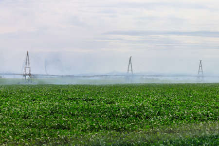 Large agricultural irrigation system in a field