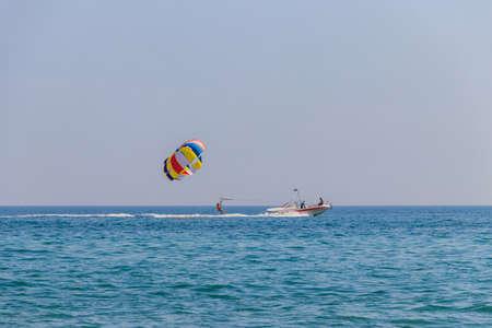 Lazurne, Ukraine - July 18, 2020: Parasailing on the Black sea in Lazurne, Ukraine