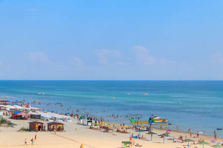 Lazurne, Ukraine - July 18, 2020: View on the beach of the Black sea in Lazurne, Ukraine. View from above Éditoriale
