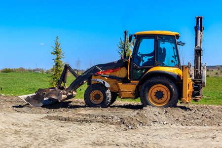 Bulldozer working on a road construction site Standard-Bild