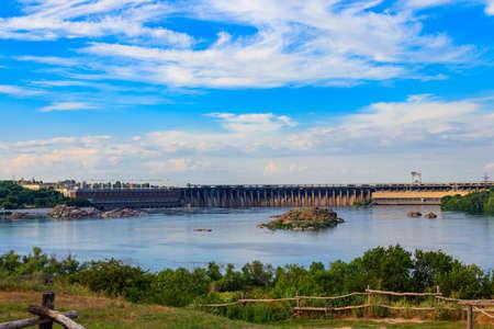 Dnieper Hydroelectric Station on the Dnieper river in Zaporizhia, Ukraine Banco de Imagens