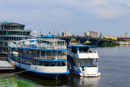 Tourist ships in a river port in Kiev, Ukraine