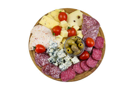 Antipasti platter with olives, cherry tomatoes, assortment of italian salami and cheese isolated on white background Banco de Imagens