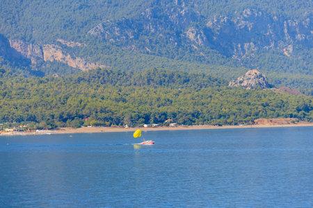 Parasailing on the Mediterranean sea in Kemer, Antalya province in Turkey
