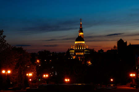 View of illuminated Annunciation cathedral at night in Kharkov, Ukraine Banco de Imagens
