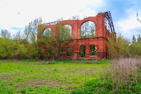 Ruins of building in Natalyevka estate complex in Kharkiv region, Ukraine