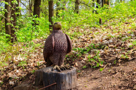 Wooden sculpture of eagle in the Krasnokutsk park, Kharkiv region, Ukraine 免版税图像