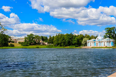 Grotto pavilion and Cameron gallery on a shore of Big Pond in Catherine park at Tsarskoye Selo in Pushkin, Russia