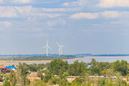 Wind turbines at Dzharylhach bay of the Black sea in Lazurne, Ukraine. Renewable energy