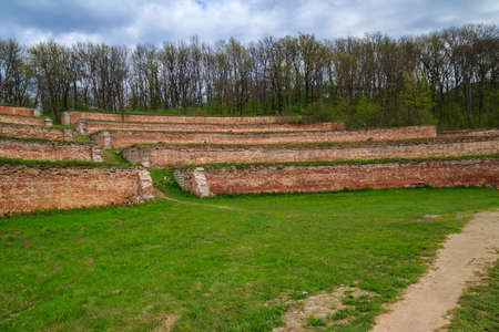 Singing terraces are garden terraces built at 19th century and fortified by brick walls in Kharkiv region, Ukraine 免版税图像