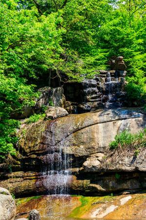 Beautiful waterfall in Sofiyivka park in Uman, Ukraine