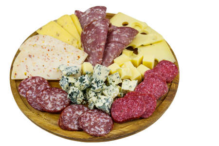 Antipasti platter with assortment of italian salami and cheese isolated on white background
