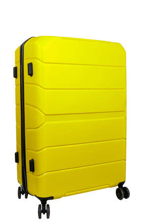 Yellow suitcase isolated on a white background